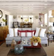 cottage style homes with rustic coffee table and sofa interior