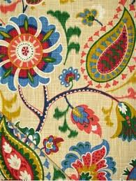 Upholstery Fabric Prints Blue Color Medallion And Floral Pattern Print And Cotton Type