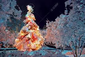 snow covered christmas tree at night with colorful lights stock