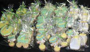 my pink little cake green and yellow baby shower cookies