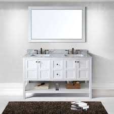Marble Top Vanities Virtu Usa Ed 30060 Wmsq Wh Winterfell 60 In Bathroom Vanity Set