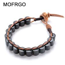 beads friendship bracelet images Mofrgo ebony wood cylinder beads with yak bone handmade weave jpg