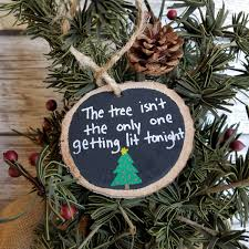 funny christmas ornament best friend gift wood slice