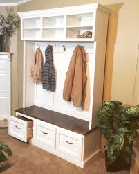 entryway bench with shoe storage coat rack and storage