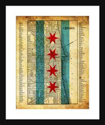 Maps Of Chicago Neighborhoods by Chicago Neighborhood Map Grunge Flag Print Poster