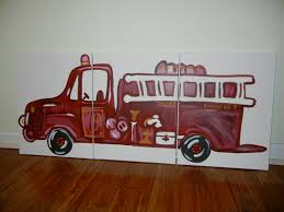 Pottery Barn Kids Panels by Triptych Fire Truck Painting Pottery Barn Kids Inspired Three