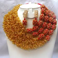 wedding bead necklace images Statement african coral jewelry beads jewelry set jpg