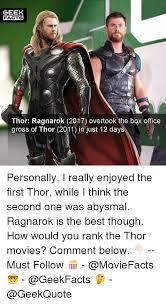 Memes Gross - geek facts thor ragnarok 2017 overtook the box office gross of