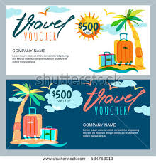 travel gift certificates vector gift travel voucher template tropical stock vector