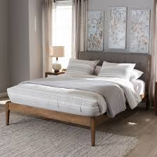 Gray Platform Bed Baxton Studio Clifford Mid Century Light Grey Fabric And Medium