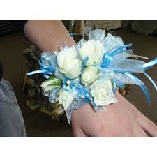 White Wrist Corsage White Rose Wrist Corsage With Blue Accents Missouri Valley Ia