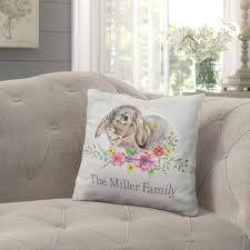 Rabbit Kitchen Accessories August Grove Houtz Spring Rabbit Personalized Throw Pillow U0026 Reviews