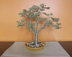 handcrafted metal wire beaded bonsai sculpture metal wire tree