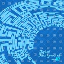 abstract digital ornament blue labyrinth pattern vector