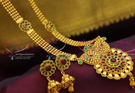 red antique necklace images Nl0796 fancy antique red green multi line long necklace jhumka JPG