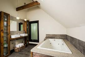 retro industrial style bathroom with natural brick wall feat white