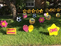 Birthday Lawn Decorations Emojis Yard Decorations For Birthday With Pink And Yellow Color