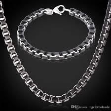 black necklace box images 2018 u7 black box chain necklace bracelet set stainless steel jpg