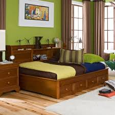 bedroom brown wooden full daybed with storage drawers and shelves