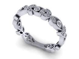 floral wedding band crafted 1920 s deco inspired diamond floral wedding band