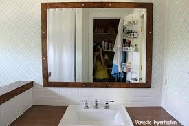 Diy Mirror Frame Bathroom Bathroom Remodel Hanging The Mirror U0026 Light Domestic Imperfection