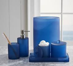 Bathroom Collections Sets Serra Mix And Match Bath Accessories Navy Blue Pottery Barn