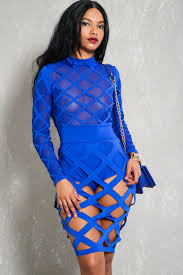 royal blue dress royal blue sleeves cage accent bodycon party dress
