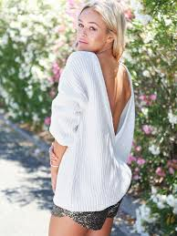 white off shoulder back open deep v neck puff sleeve knit sweater1 jpg