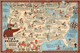 United States Map Wall Art by Paul Bunyan U0027s Pictorial Map Of The United States David Rumsey