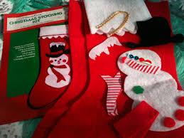 christmas stocking kit vintage diy holiday snowman red felt