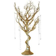 glittered gold manzanita tree centerpiece for wedding party event
