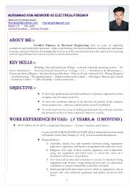 Sample Journeyman Electrician Resume by Resume Muhammad Asim Mehmood As Electrical Foreman