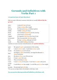 gerunds and infinitives with verbs part 1