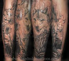 lizard s skin tattoos wolf with freehand background by niloy
