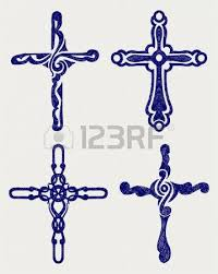 religious cross design collection doodle style royalty free