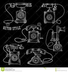 retro rotary dial telephones chalk sketch icons stock vector