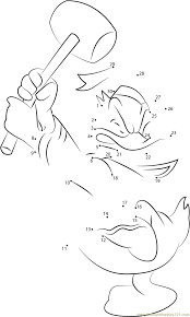 donald duck having hammer dot to dot printable worksheet connect