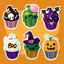 cute set of halloween cupcakes u2014 stock vector jessjagmin 71212417
