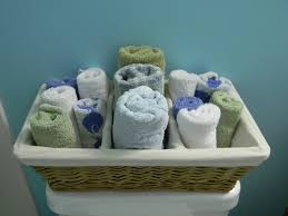 Bathroom Basket Ideas How To Decorate A Bathroom With Towels In A Basket Towel