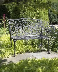 tulip bench aluminum garden bench black metal outdoor bench