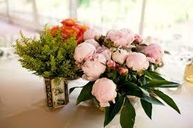 Vintage Vases Wedding Centerpieces Light Pink Peonies Orange Roses In Vintage Vases