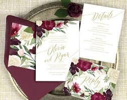 burgundy wedding invitations marsala wedding etsy