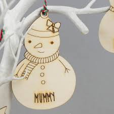 snowman family personalised christmas decorations by we are scamp