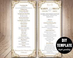 gold wedding programs gold wedding program etsy