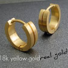 18k gold earrings men s hoop earrings binary solid gold hoop earrings