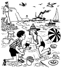 beach coloring picture kids