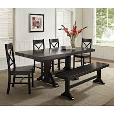 furniture black piece solid wood dining table set with bench on