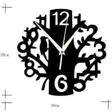 home decoration 3d tree mirror wall clock safe modern design diy