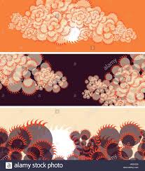 japanese style set of banners with sun and clouds in japanese style in orange and