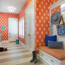 Laundry Room And Mudroom Design Ideas - white and orange laundry room design ideas